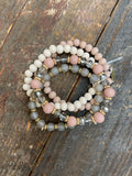 Pink and Grey- Beaded Bracelet set