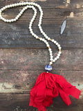 Red Imperial tassel necklace