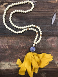 Mustard Imperial tassel necklace