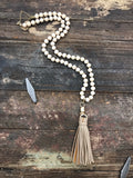 Natural wood beaded tassel necklace