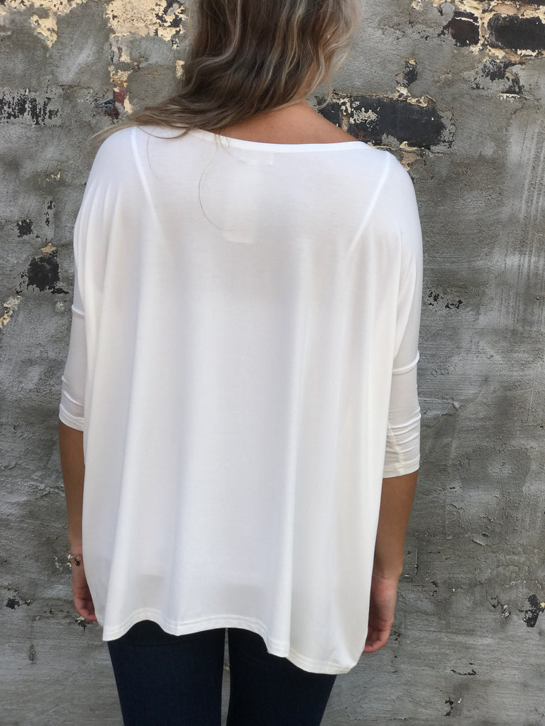 Off White 3/4 sleeve Piko
