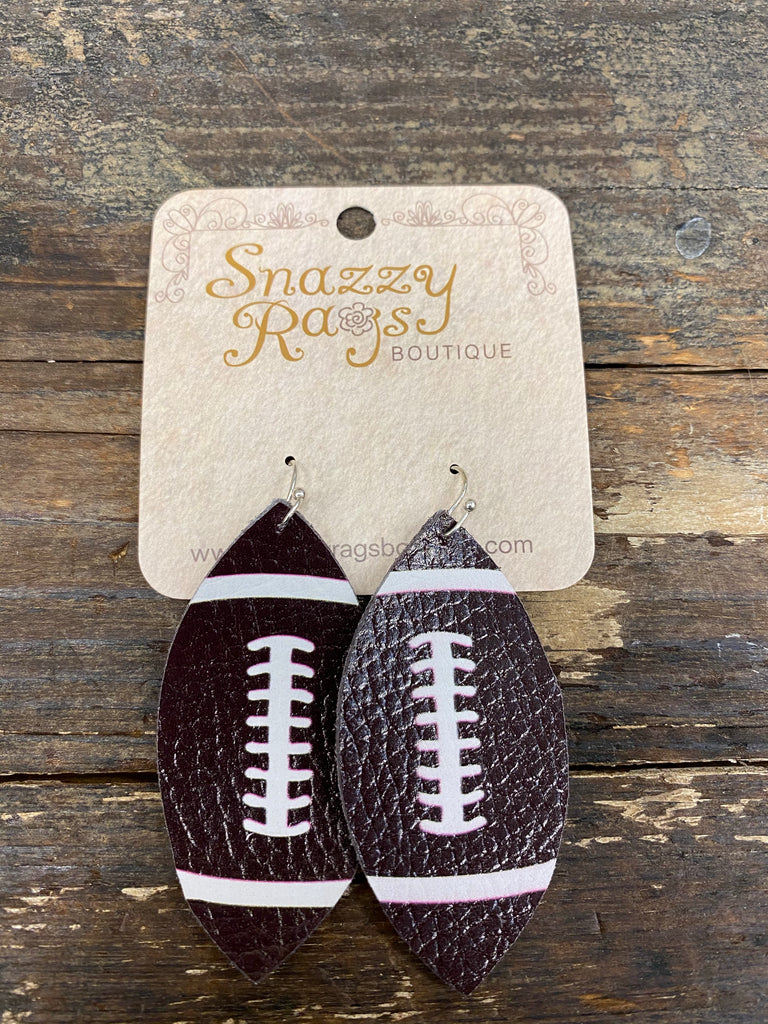 Dark brown leather football earring