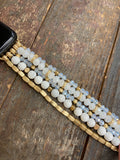 White beaded watch band