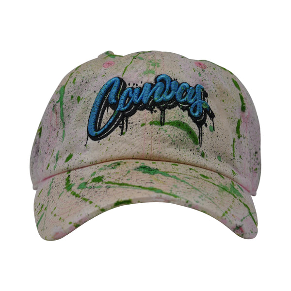 Canvas Vintage ACID WASHED & PAINTED Dad Hat Pink