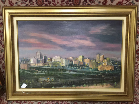 Signed Cityscape Oil Painting
