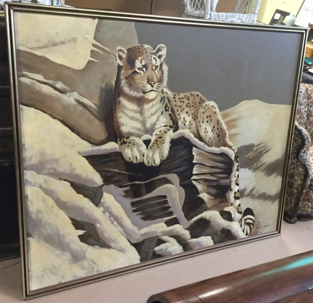 Oil Painting of a Snow Leopard