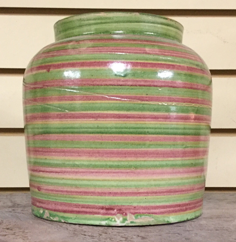 Red and Green Striped Crock
