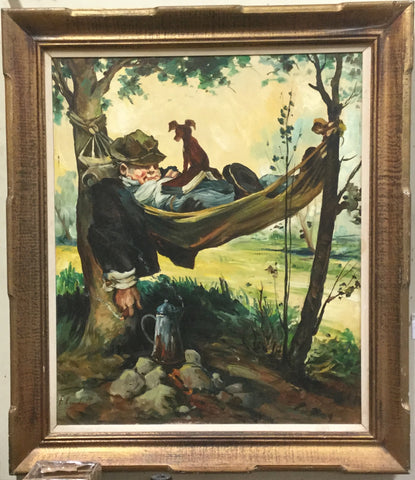 Oil Painting Relaxing in a Hammock