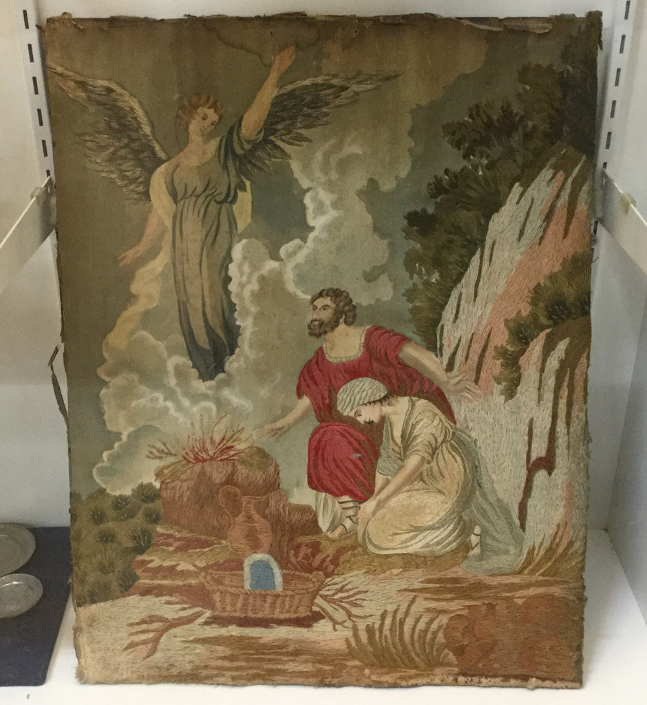 Antique Woolwork Religious Picture