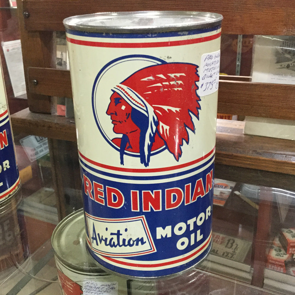 Red Indian Aviation Oil Tin