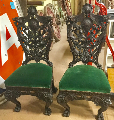 Pair Carved Oak Ornate Chairs