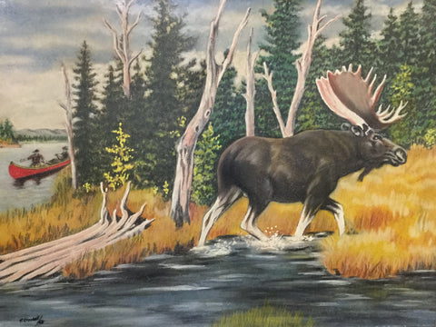Moose and Hunters Oil Painting