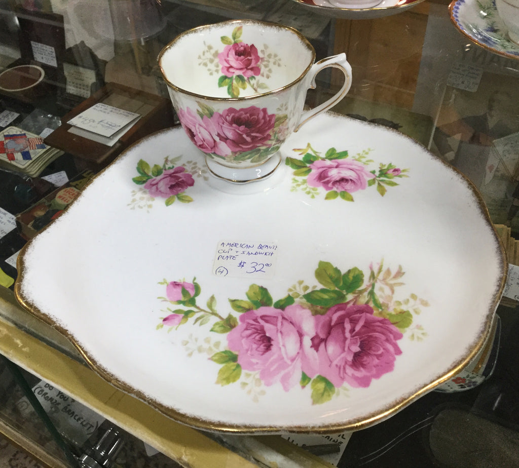 American Beauty Porcelain Cup and Plate