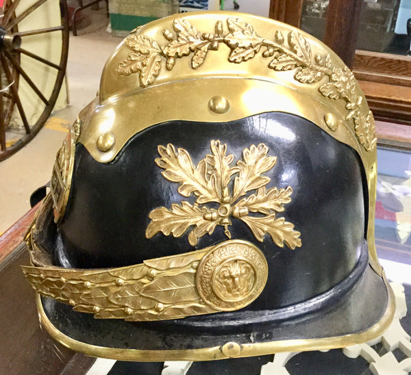 Early German Firefighting Uniform and Helmet