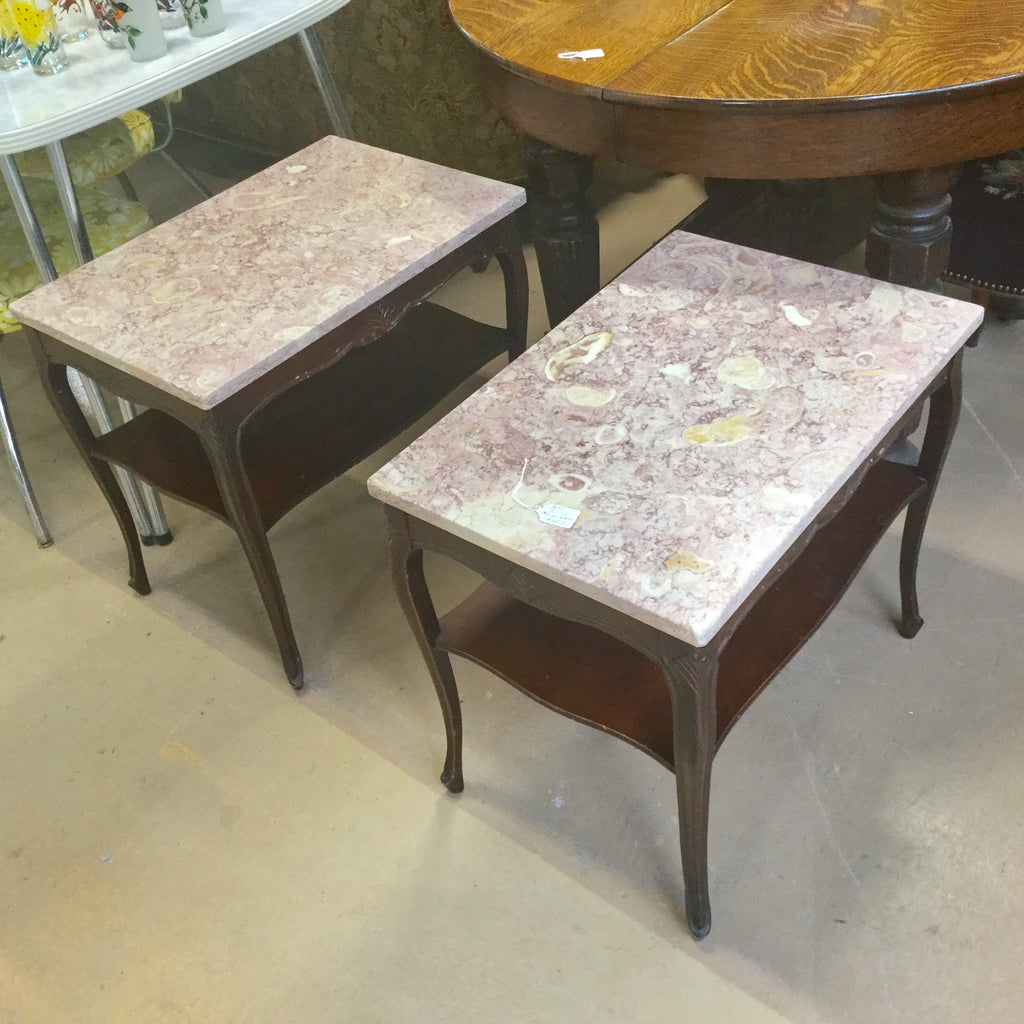 Pair Marble Top End Tables