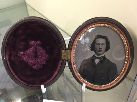Oval Tintype in Gutta Percha Frame