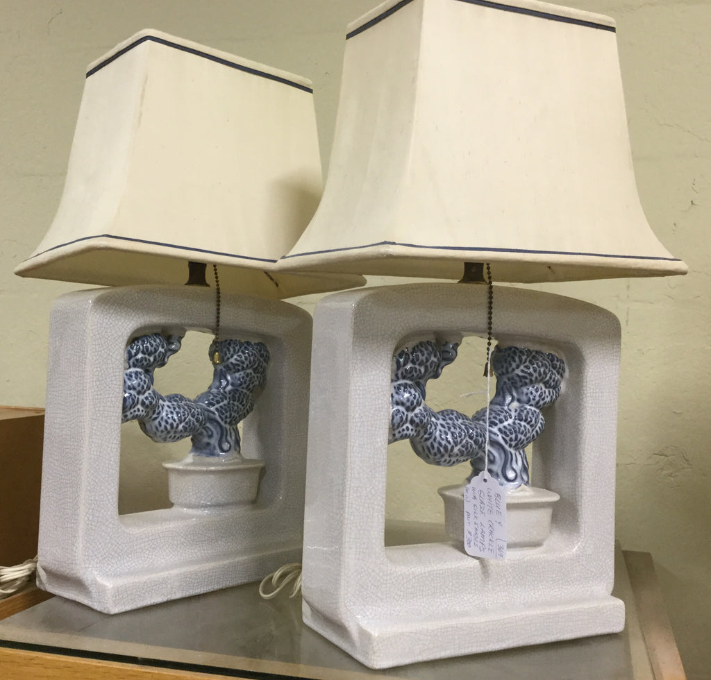 Pair of Crackle Glaze Lamps