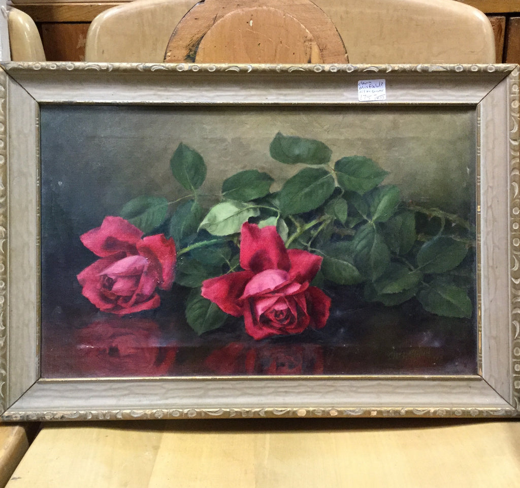 Signed Roses Oil Painting