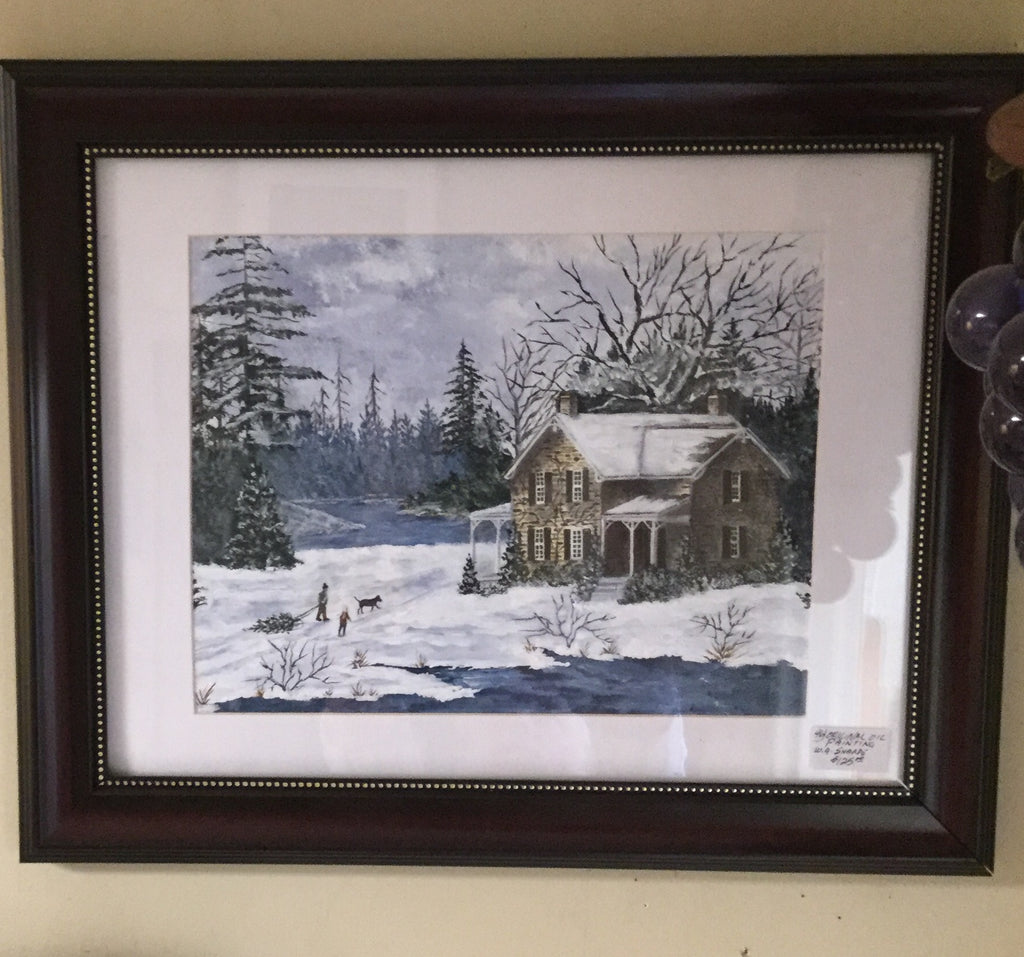 Winter Home Oil Painting