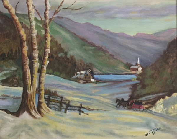Winter Horse and Sleigh Oil Painting