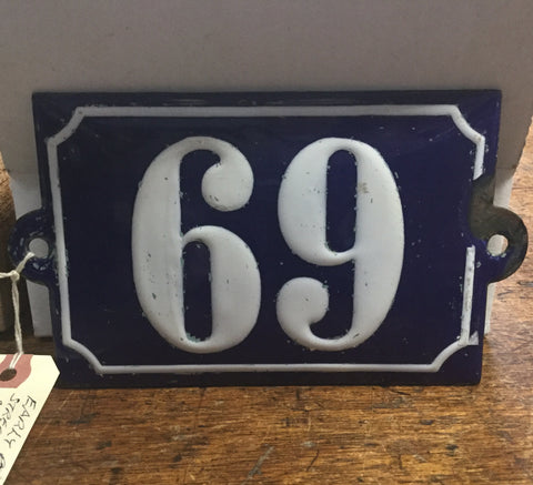 69 Porcelain House Number Sign