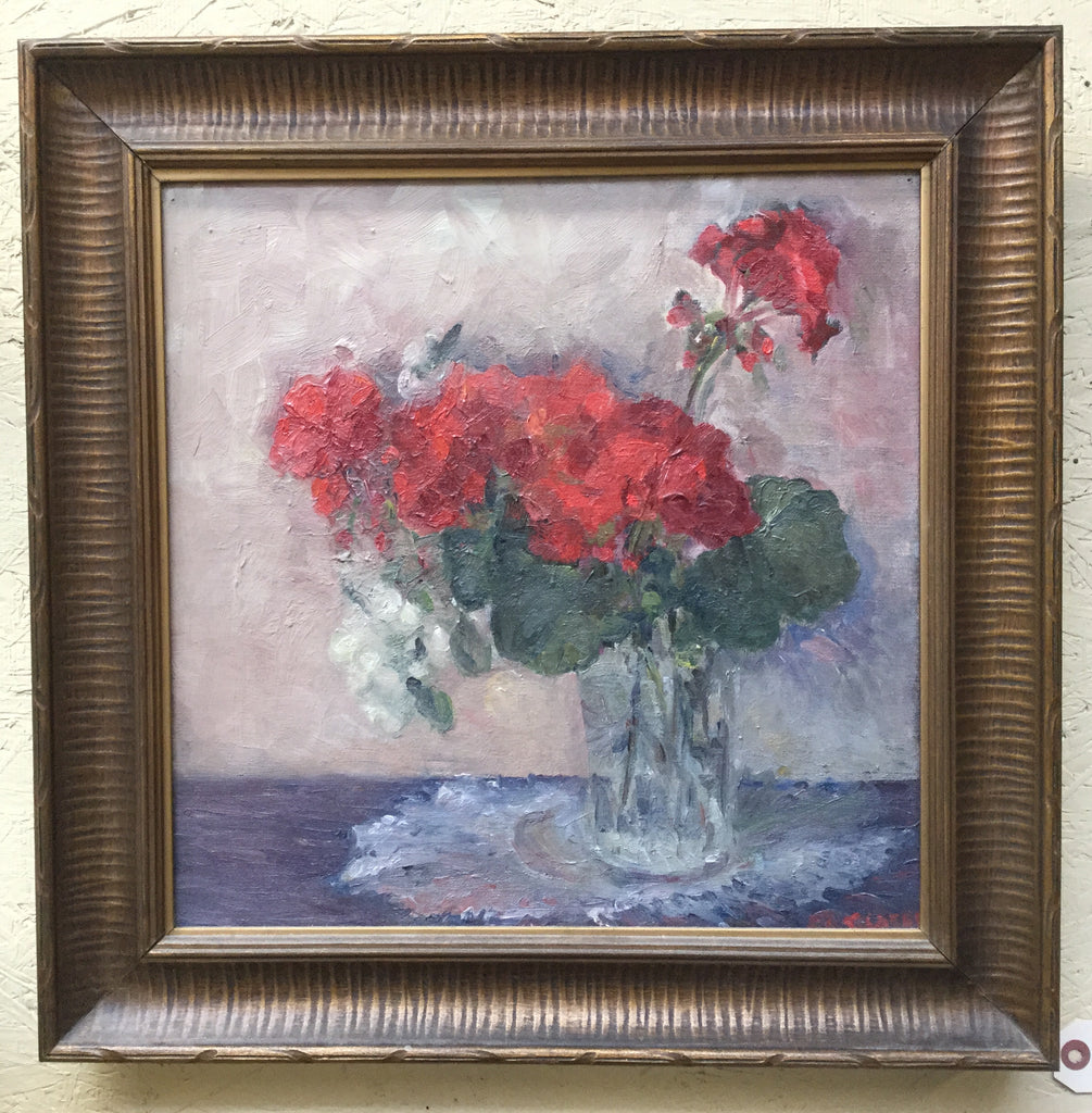 Signed Geranium Oil Painting
