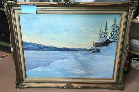Lakeside Winter Cabin Oil Painting
