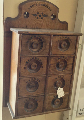 Antique Oak Spice Cabinet