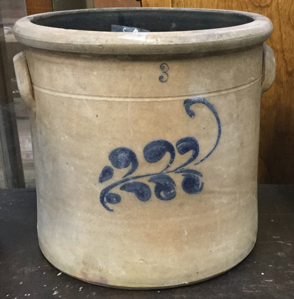 Blue Flowered Salt Glazed Crock