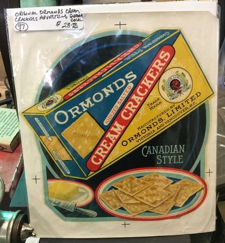 Ormonds Cream Crackers Advertising Decal
