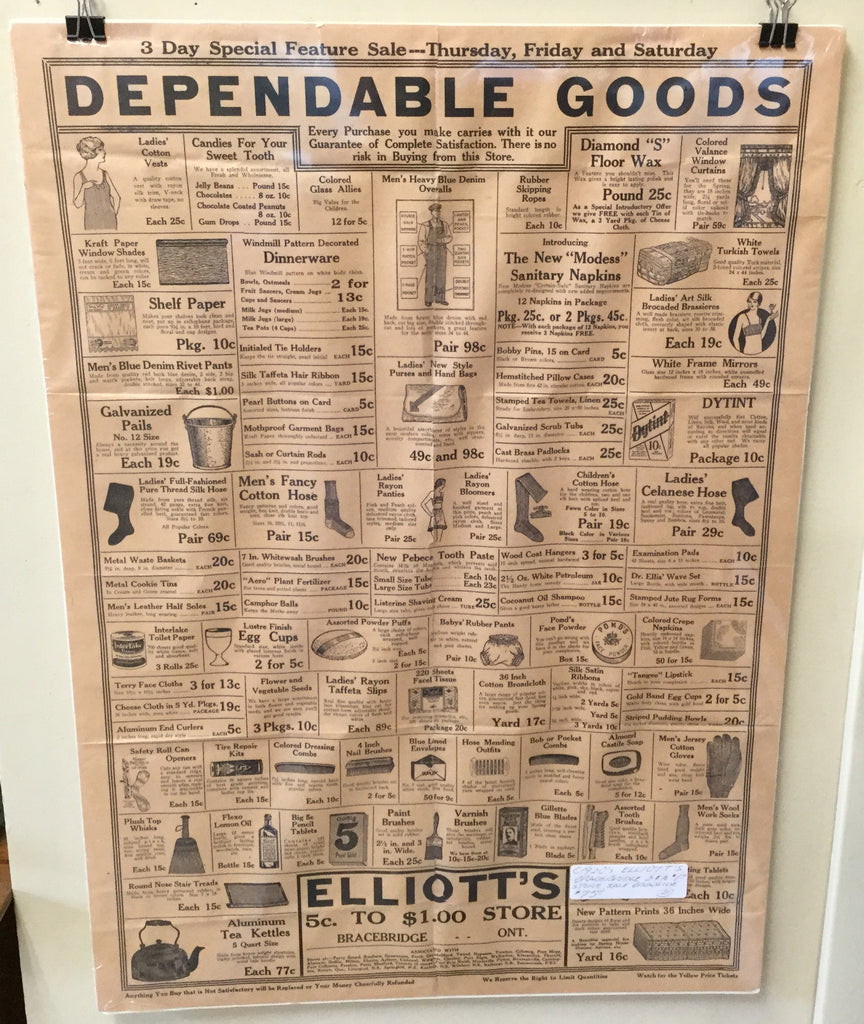 Broadside from Elliot's Five and Dime Store, Bracebridge, Ontario