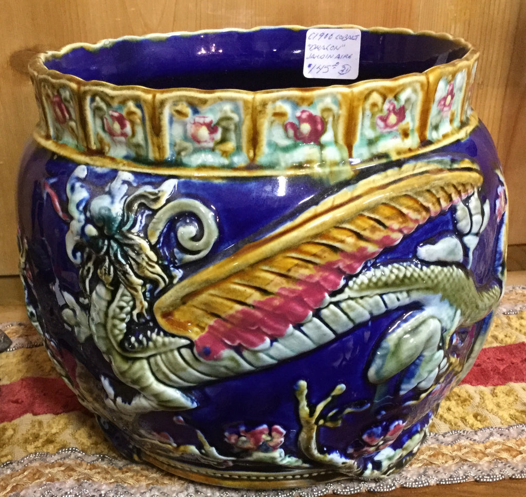 Dragon-themed Pottery Jardiniere, c. 1900