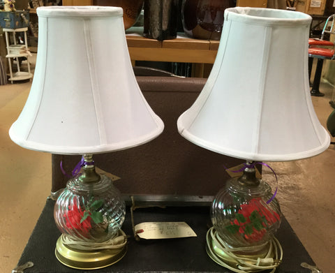 Pair Rose-in-Glass Table Lamps