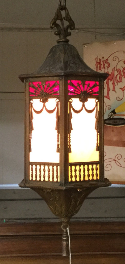 Gazebo Stained Glass Hanging Lamp