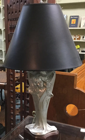 Art Nouveau Silver Grey Table Lamp