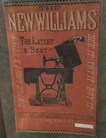 Antique New Williams Sewing Machine Broadside Poster