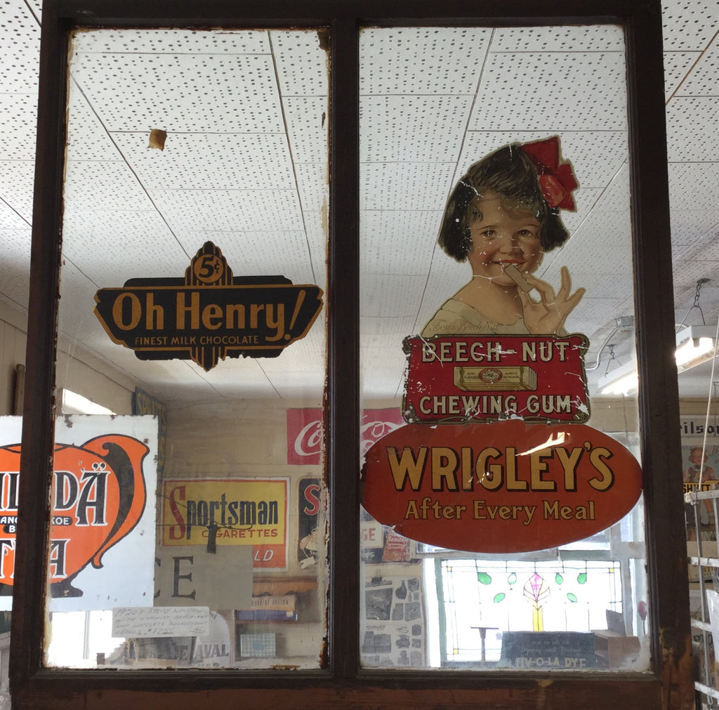 Store Window With O'Henry, Beech-Nut, Wrigleys Decals