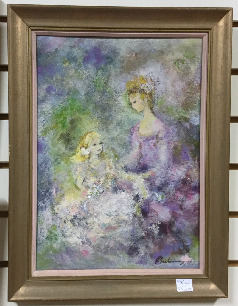 Signed Oil Painting Mother and Daughter