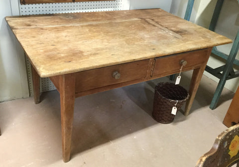1850 Pine Baking Table, Two Drawer
