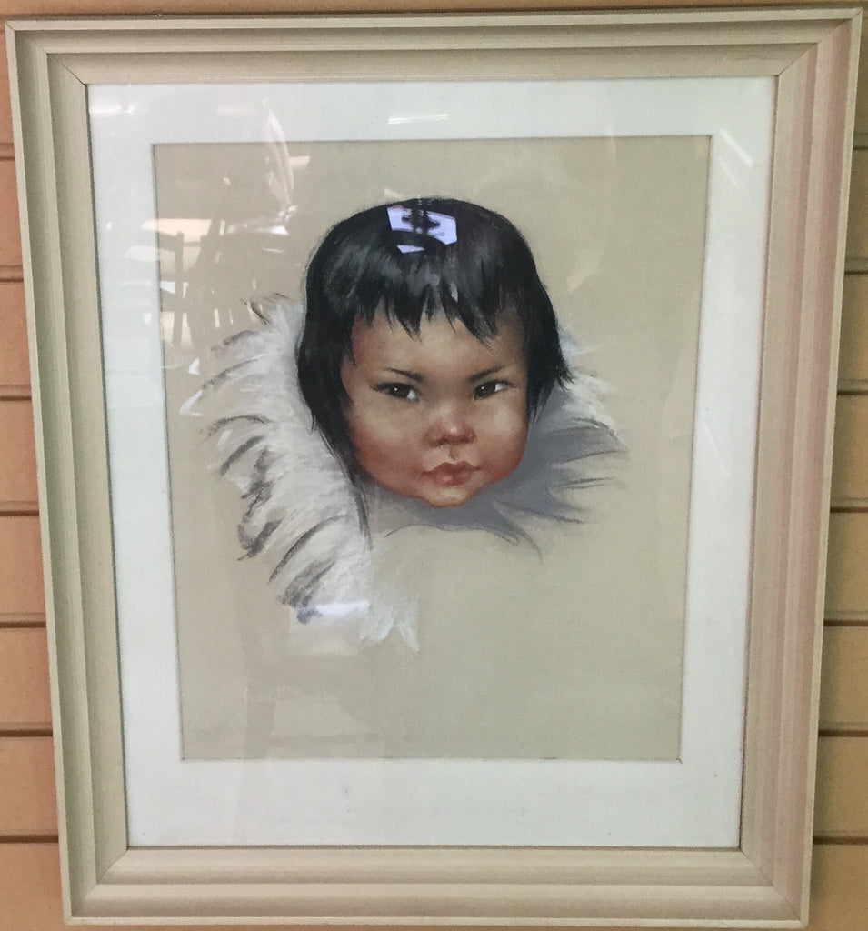 Signed Inuit Child Pastel Painting