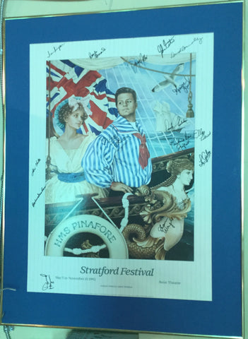 H. M. S. Pinafore Theatre Poster, Signed By Cast