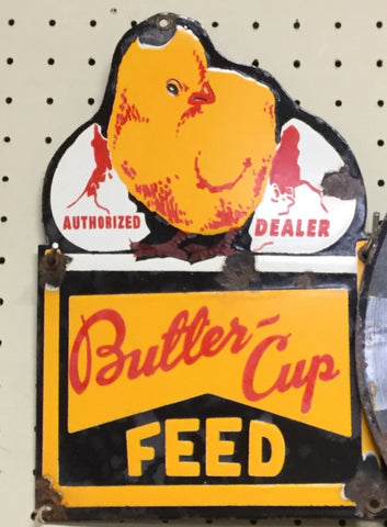Butter Cup Feed Porcelain Sign