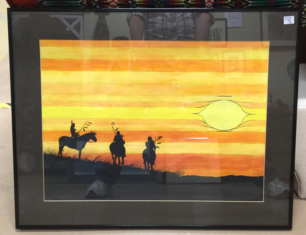 Signed Oil Painting Natives At Sunset