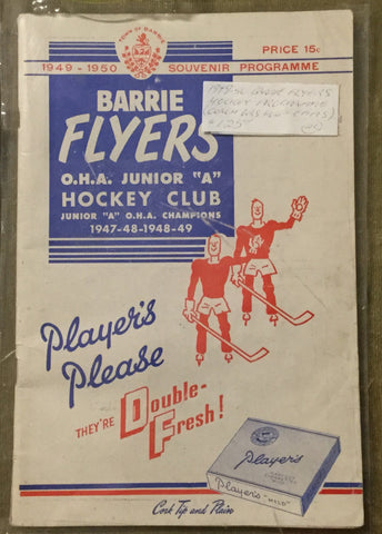 1949 Barrie Flyers Hockey Program