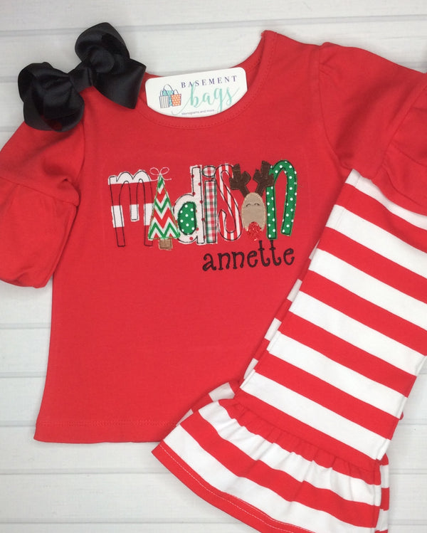 Christmas Applique Ruffle Pants Set