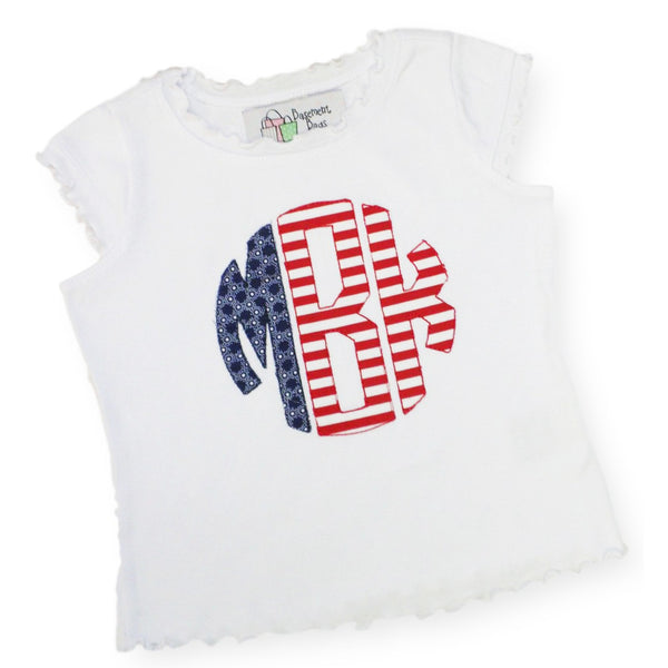 4th of July Monogrammed Tee Shirt