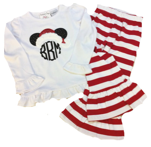 Minnie Santa Ruffle Pants Set