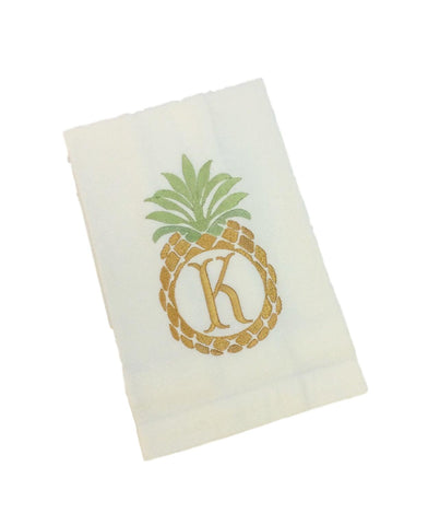 Pineapple Monogram  Kitchen Towel