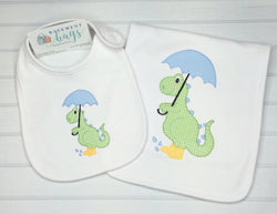 Rainy Day Dinosaur Bib and Burp Set