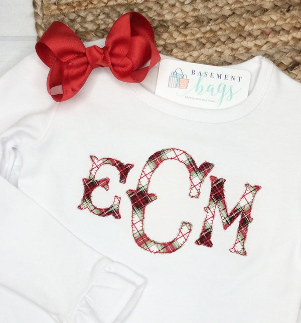 Christmas plaid monogram childrens shirt
